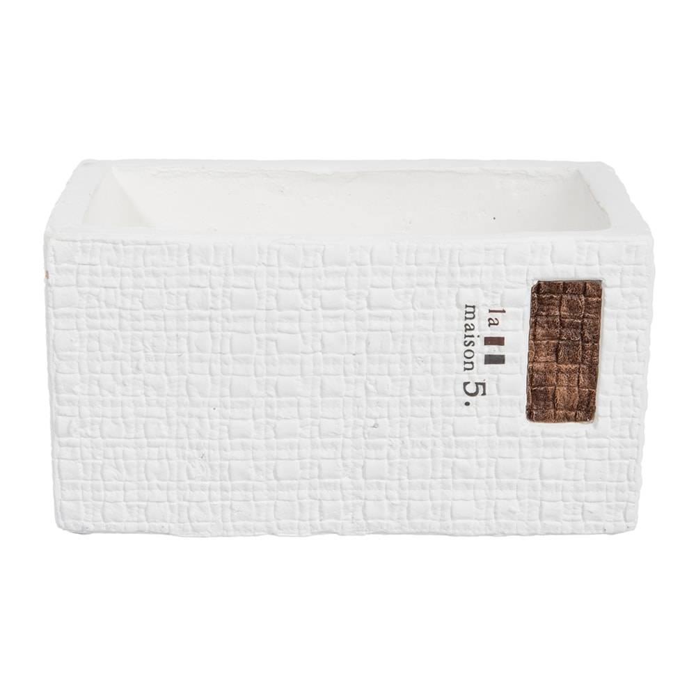 Cachepô Retangular La Maison Branco em Cerâmica - 21x13 cm
