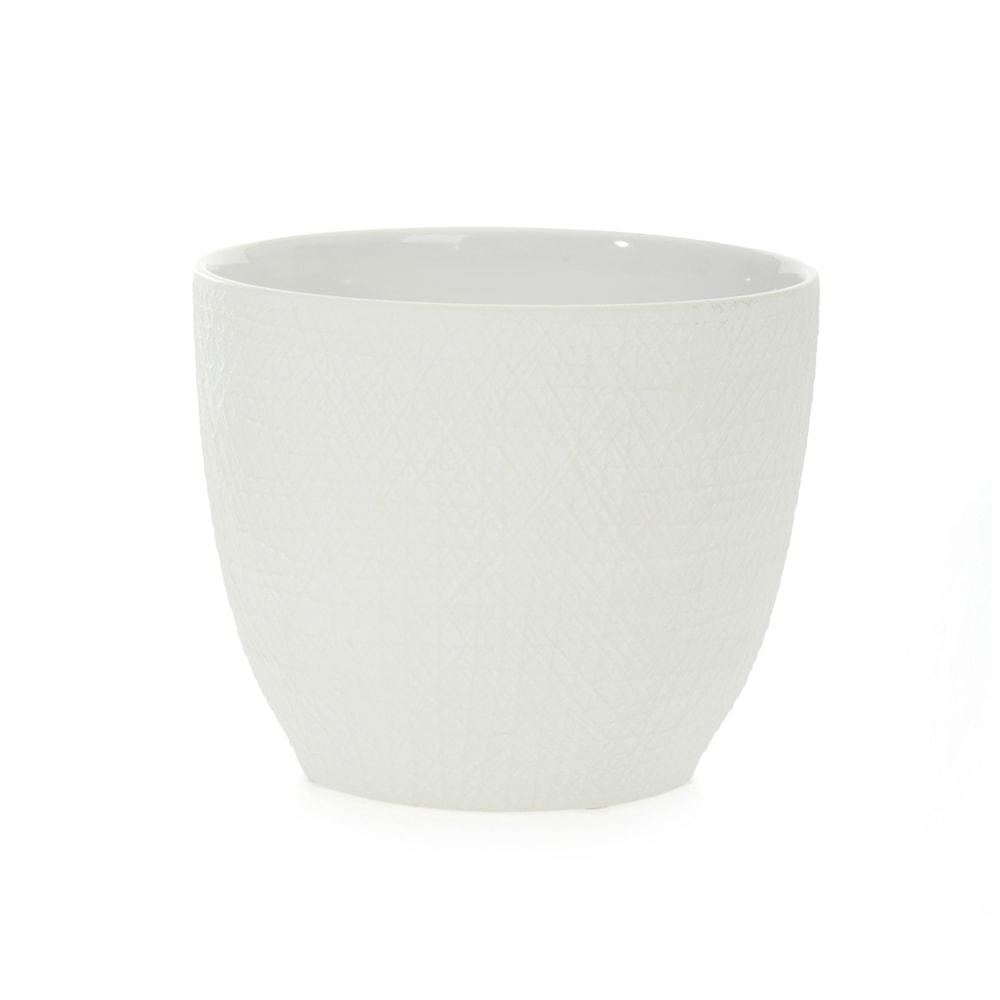 Cachepô Scratches Baixo Branco em Cerâmica - 18x15 cm