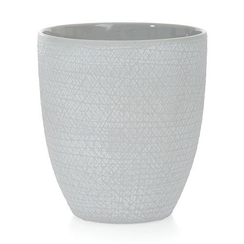 Cachepô Scratches Cinza em Cerâmica - 20x18 cm