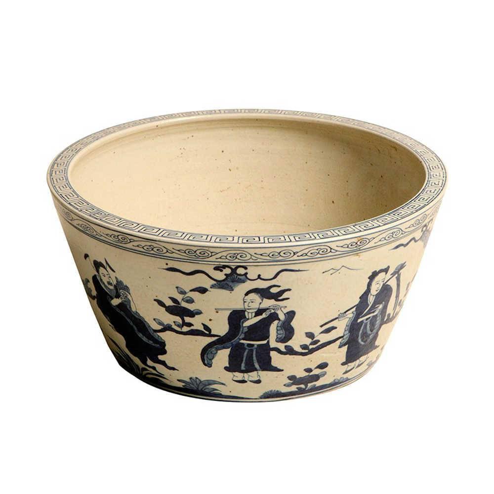 Cachepô Soutil China Azul e Bege em Porcelana - 38x38 cm