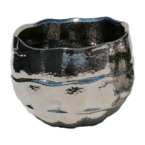 Cachepô Wave Baixo Prata em Cerâmica - 13x9 cm