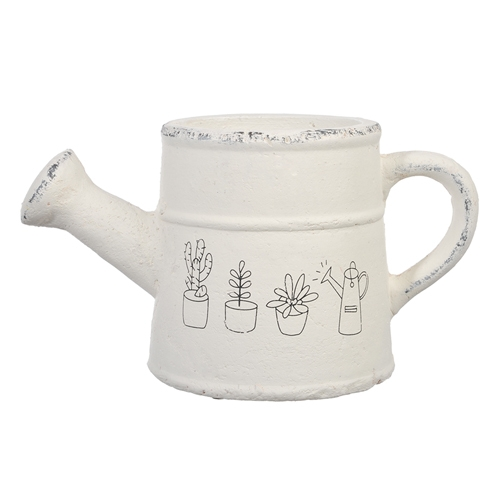 Cachepô/Regador Drawing Branco em Cerâmica - 26x15 cm