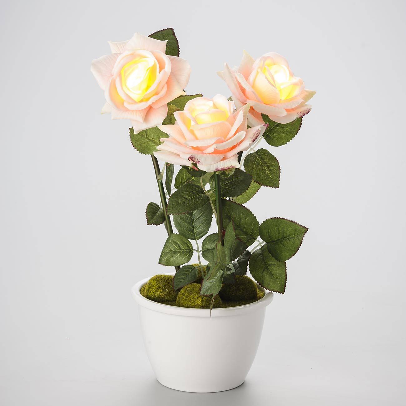 Cachepô Classic - com 3 Rosas e Luz - Prestige - 46x20 cm