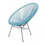 Cadeira Acapulco Azul/Preto em Aço - 89x81 cm