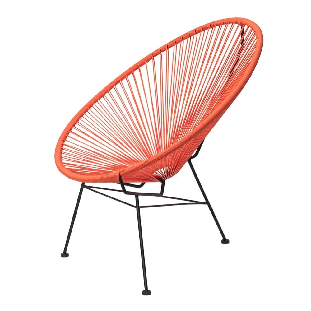 Cadeira Acapulco Laranja/Preta em Aço - 89x81 cm