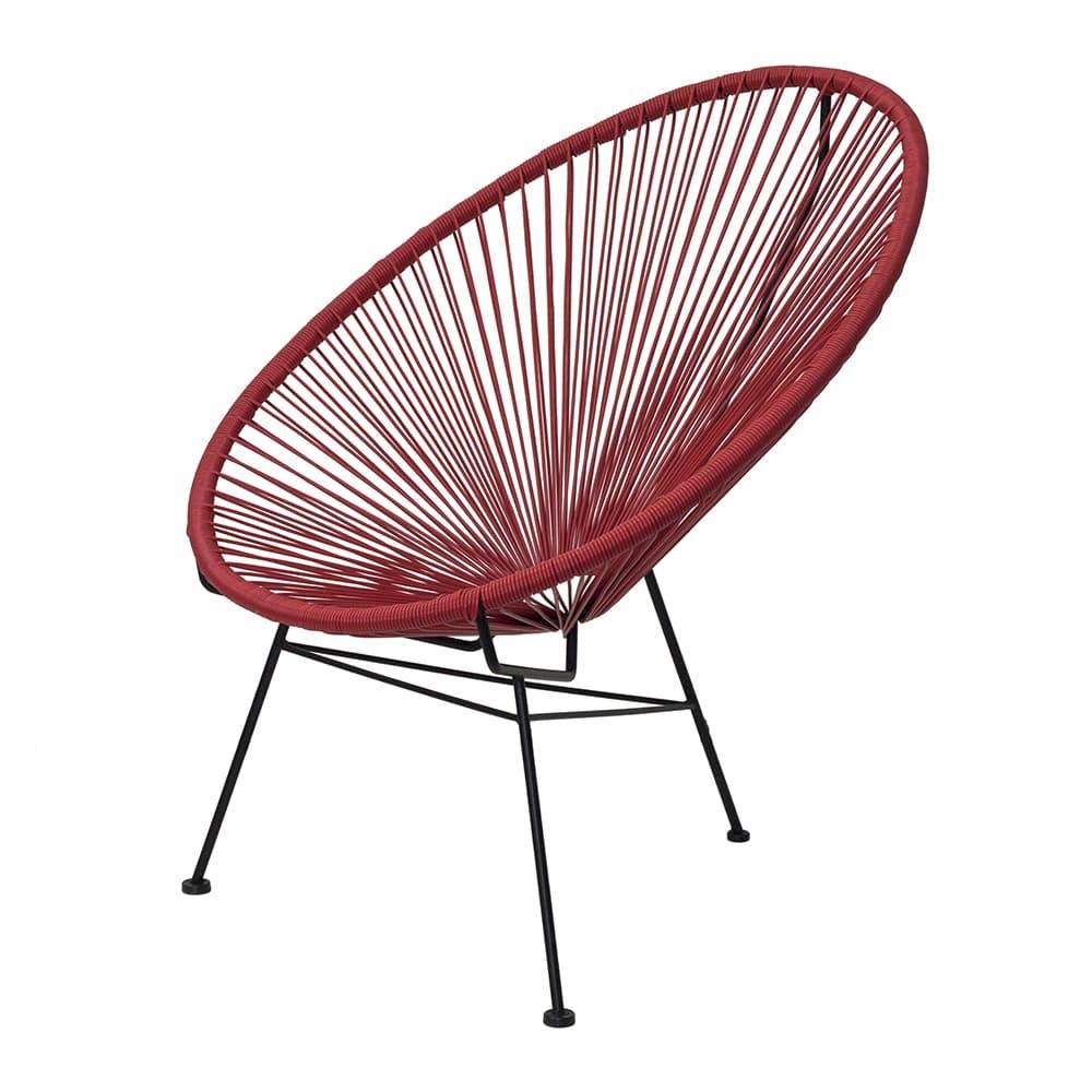 Cadeira Acapulco Vermelha/Preta em Aço - 89x81 cm