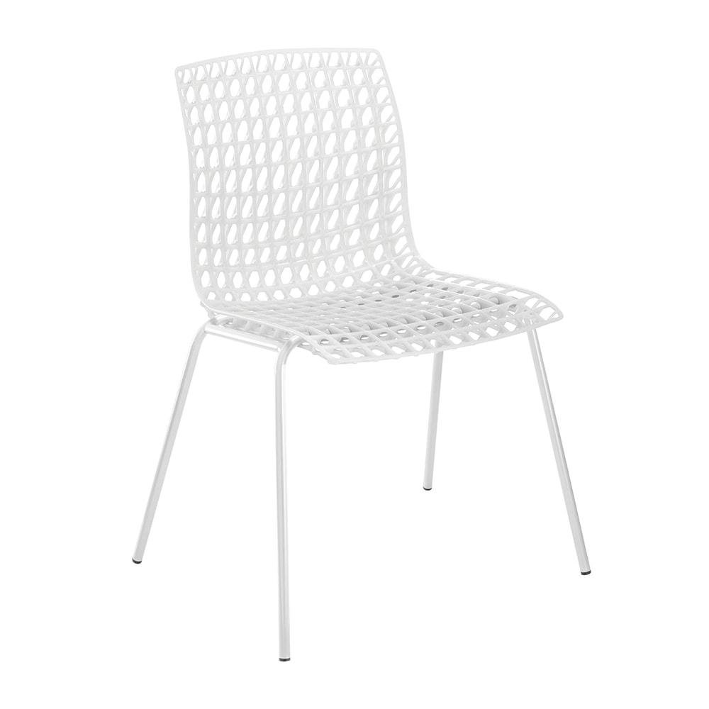 Cadeira Amarilis Branca com Efeito Quadriculado Vazado - 78x59 cm