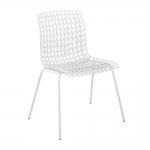 Cadeira Amarilis Branca com Efeito Quadriculado Vazado
