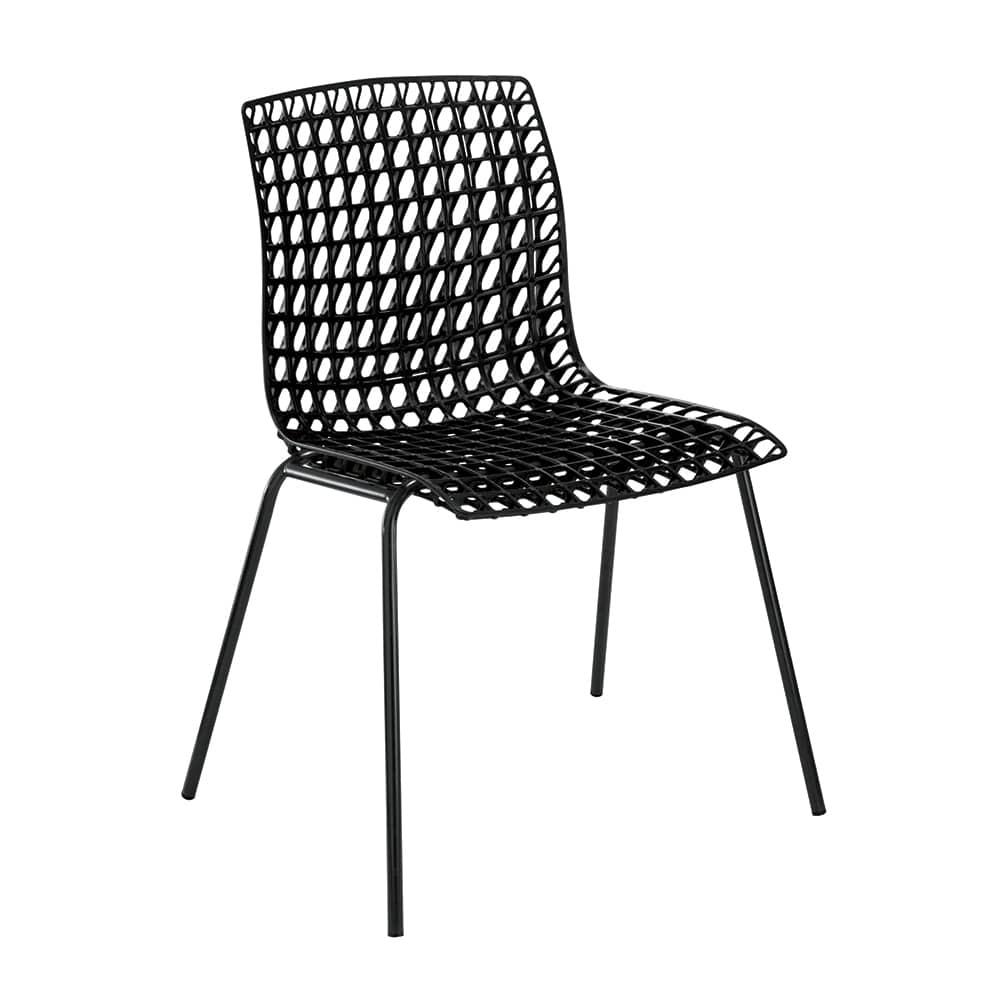 Cadeira Amarilis Preta com Efeito Quadriculado Vazado - 78x59 cm