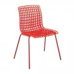 Cadeira Amarilis Vermelha com Efeito Quadriculado Vazado