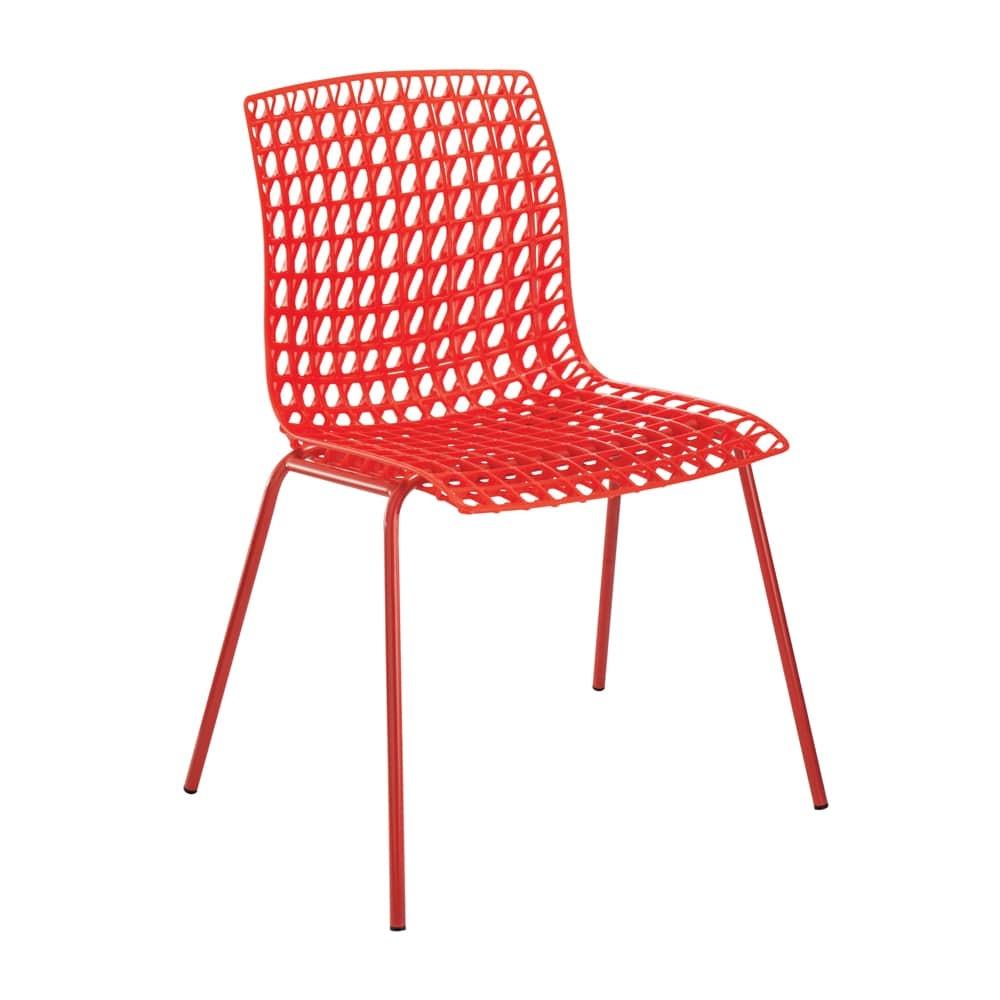 Cadeira Amarilis Vermelha com Efeito Quadriculado Vazado - 78x59 cm