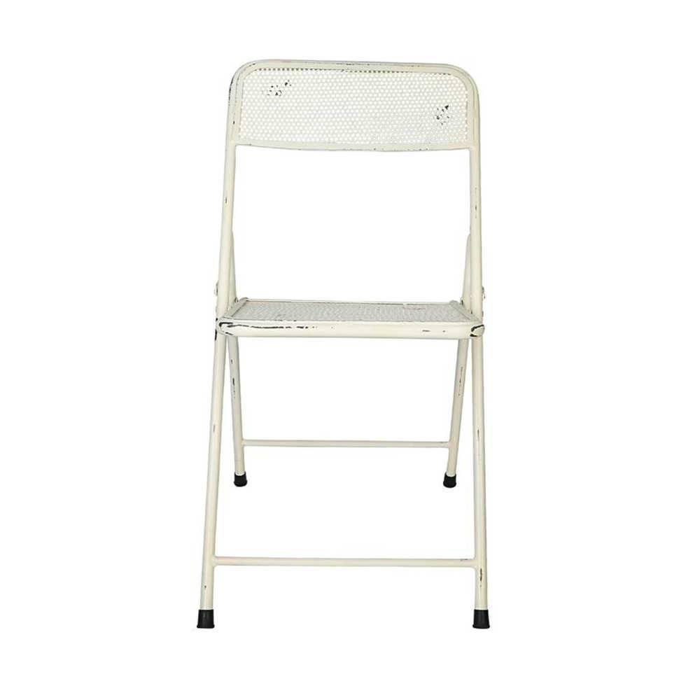 Cadeira Anime Branco Pátina em Ferro - 79x56 cm