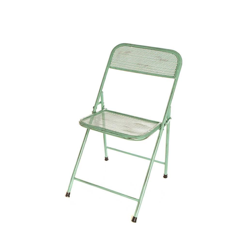 Cadeira Anime Turquesa Pátina em Ferro - 79x56 cm
