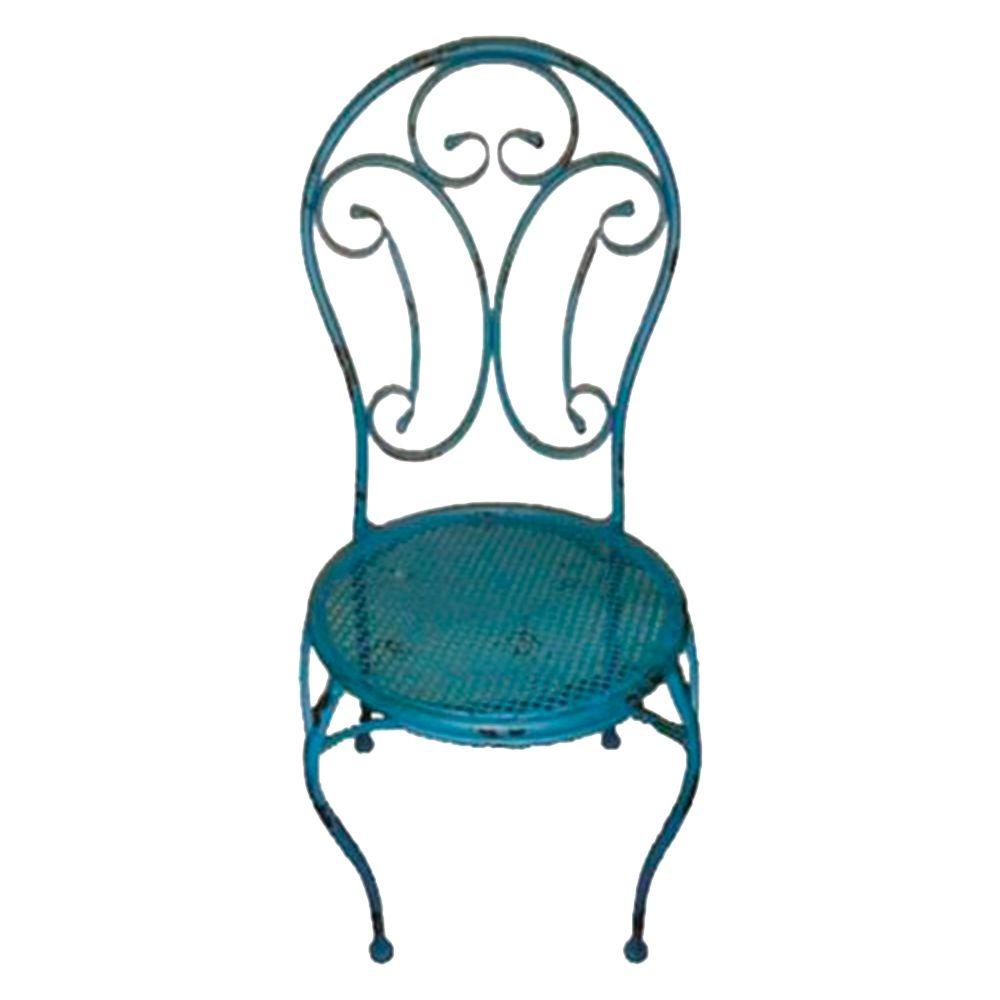 Cadeira Arabescos Azul Redonda c/ Estrutura Vazada e Pés Curvilíneos em Ferro - 96x40 cm