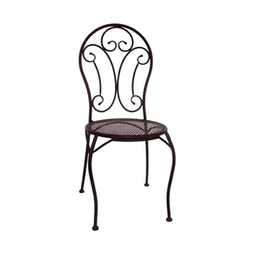 Cadeira Arabescos Preta Redonda com Estrutura Vazada e Pés Curvilíneos em Ferro - 96x40 cm