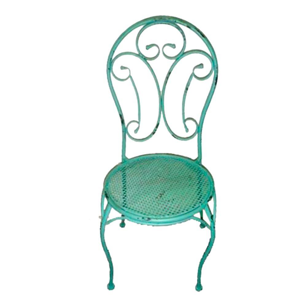Cadeira Arabescos Turquesa Redonda c/ Estrutura Vazada e Pés Curvilíneos em Ferro - 96x40 cm
