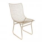 Cadeira Athina Branca Quadriculada Vazada em Ferro