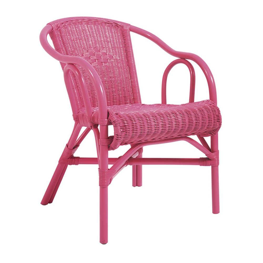 Cadeira Beach Rosa em Vime com Braço - Urban - 78x63 cm