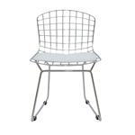 Cadeira Bertoia Kids em Aço Cromado e Almofada Branca