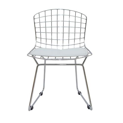 Cadeira Bertoia Kids em Aço Cromado e Almofada Branca - 51x30 cm