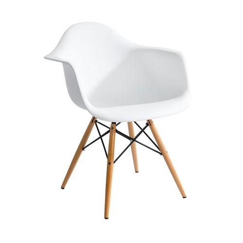 Cadeira Charles Eames Wood Branca em Polipropileno - 77,5x62 cm