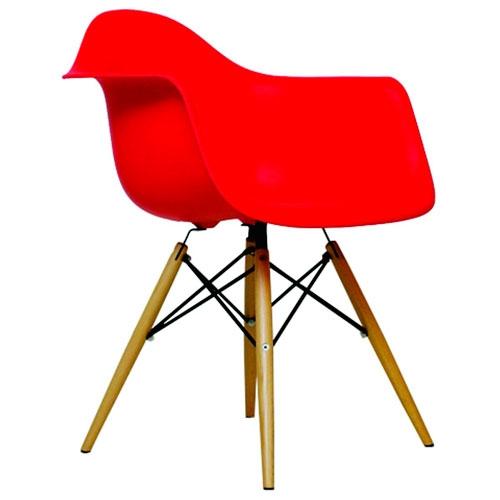 Cadeira Charles Eames Wood Vermelha em Polipropileno - 77,5x62 cm