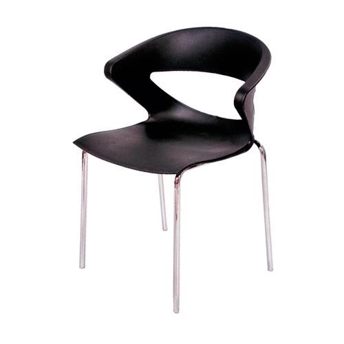Cadeira Connect Preta em Polipropileno e Base em Aço Cromado - 78x55 cm