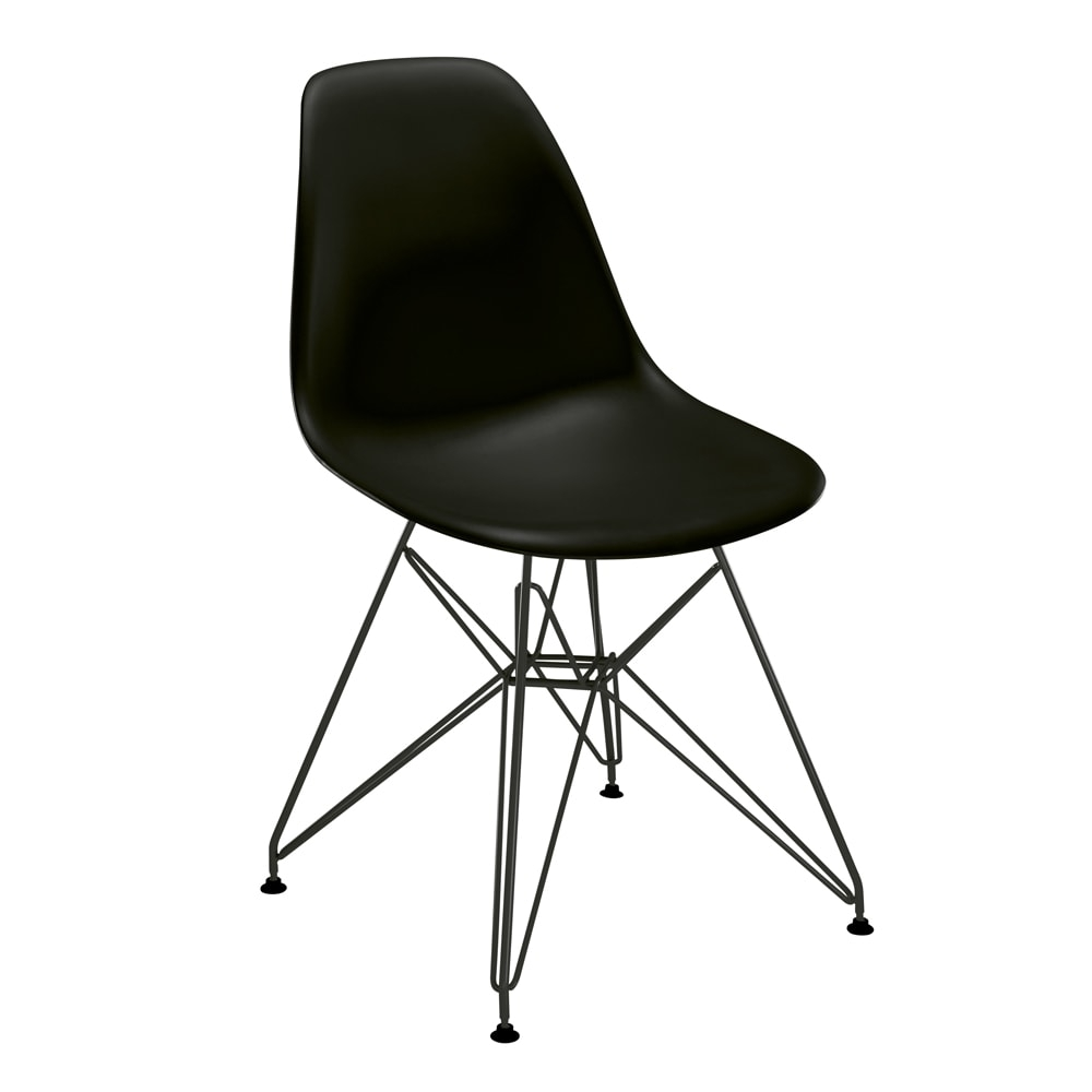 Cadeira Contemporânea Charles Eames Preta - 83x57 cm