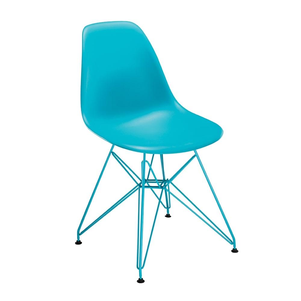 Cadeira Contemporânea Charles Eames Turquesa - 83x57 cm