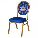 Cadeira Coroa Realeza Azul em Alumínio e Tecido - 92x48 cm