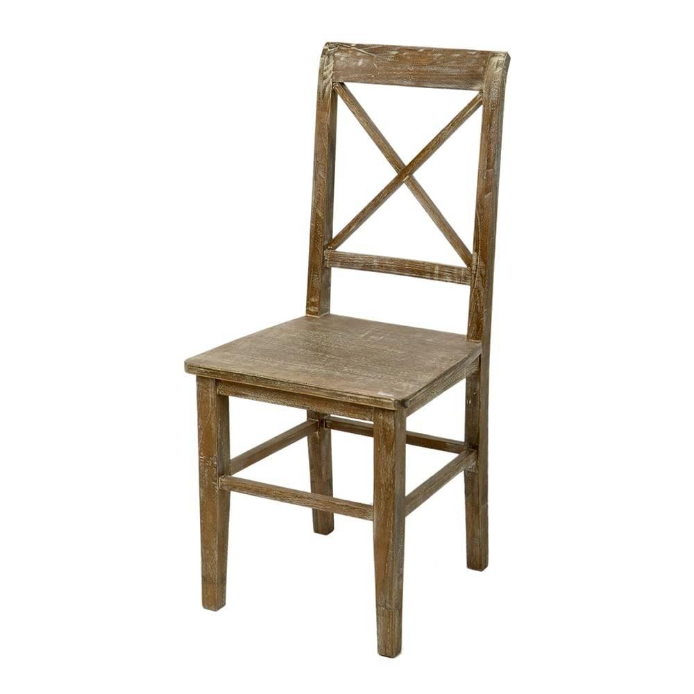 Cadeira Crossed Marrom - Encosto Vazado - em Madeira - 94x47 cm