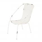 Cadeira Delizare Branco Pátina em Ferro - 98x68 cm