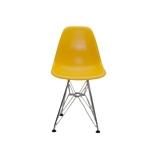 Cadeira DKR Kids Amarela em ABS e Base em Aço Cromado