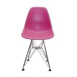 Cadeira DKR Kids Pink em ABS e Base em Aço Cromado