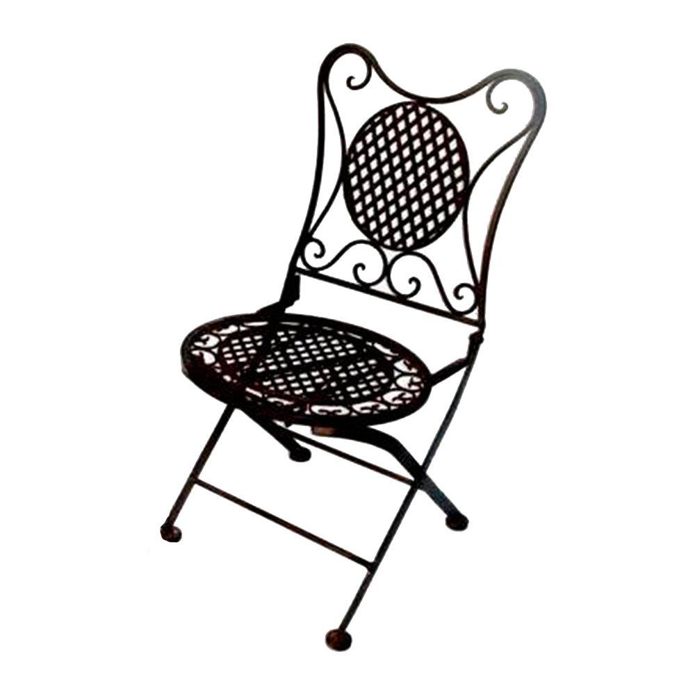 Cadeira Dobrável Losangos e Arabescos Preta c/ Estrutura Vazada em Ferro - 62x34 cm