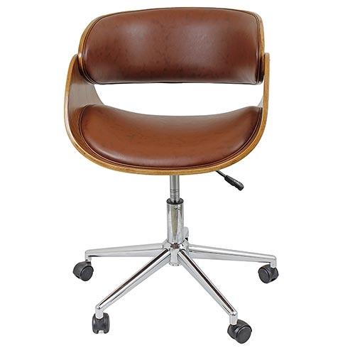 Cadeira Escritório Madeira c/ Rodizio Marrom Fullway - 86x65 cm
