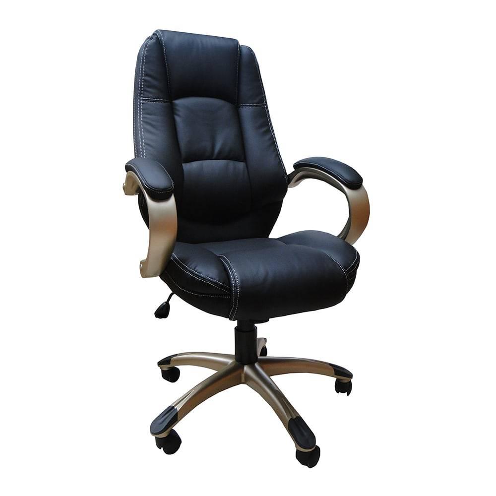 Cadeira Escritório Presidente Preta Fullway em Couro Sintético - 119x80 cm
