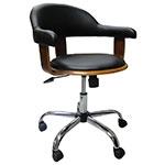 Cadeira Escritório com Rodinhas Walnut Wood Fullway - 86x65x65cm
