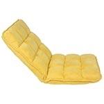 Cadeira Estofada de Chão Suede Amarelo Fullway - 105x50 cm