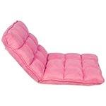 Cadeira Estofada de Chão Suede Rosa Fullway - 105x50 cm