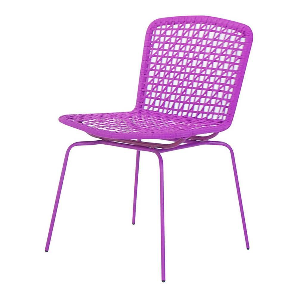 Cadeira Fake Vime Roxa em Aço e ABS - Urban - 78x60,5 cm