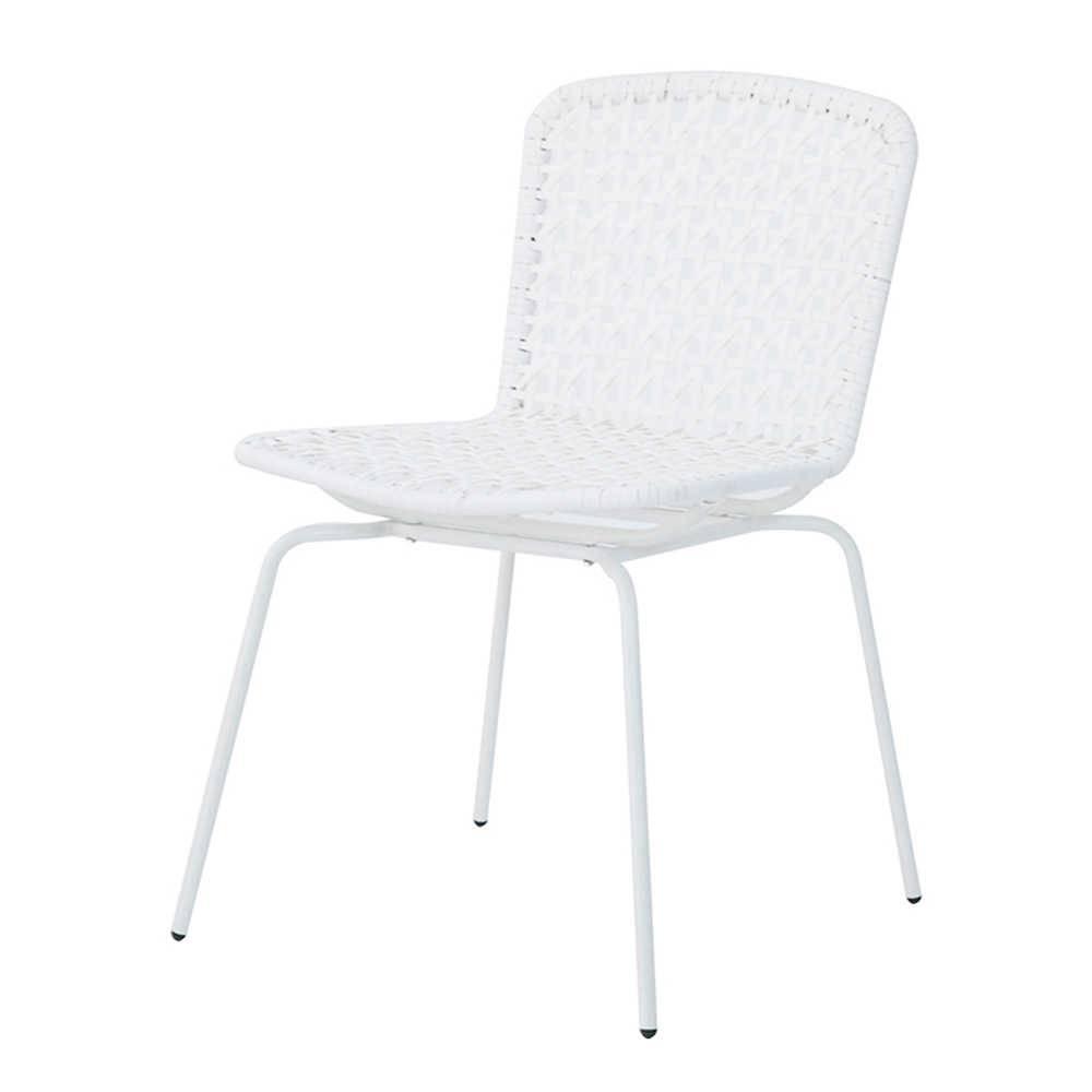 Cadeira Fake Vime Branca em Aço e ABS - Urban - 78x60,5 cm