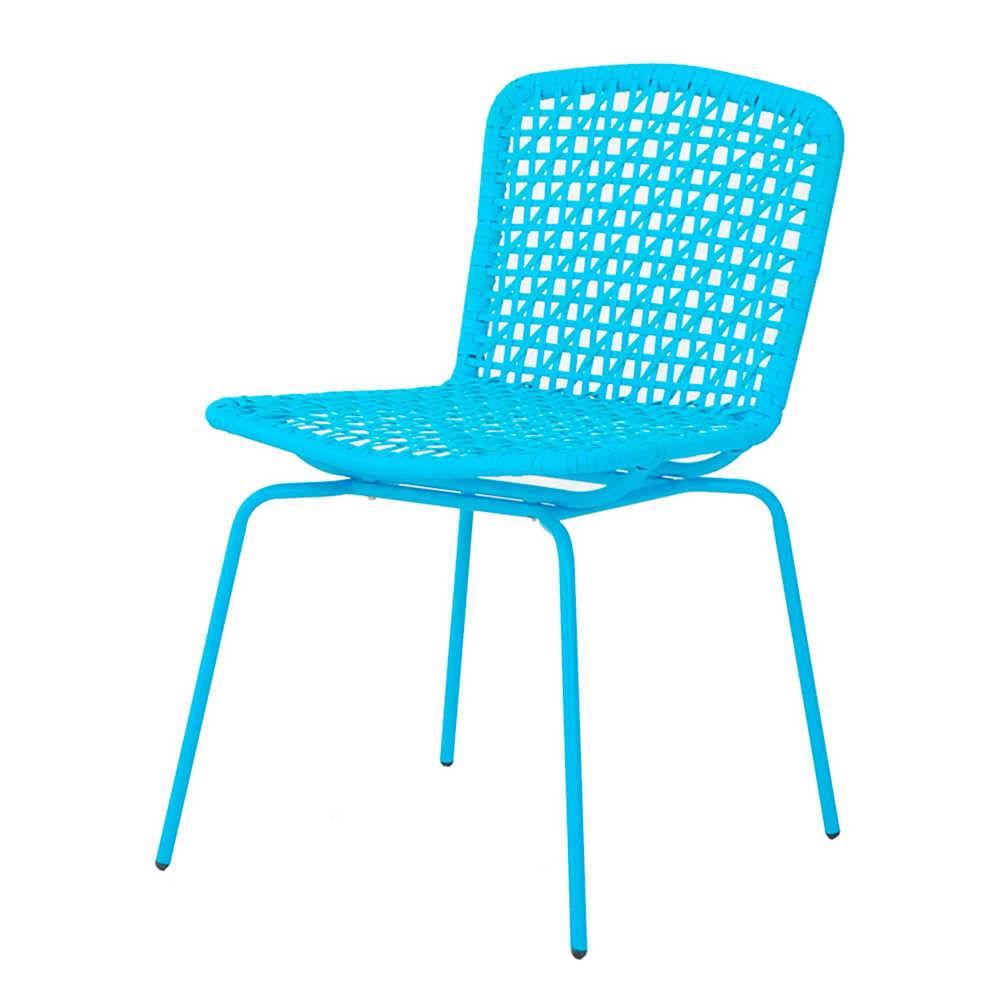 Cadeira Fake Vime Azul em Aço e ABS - Urban - 78x60,5 cm
