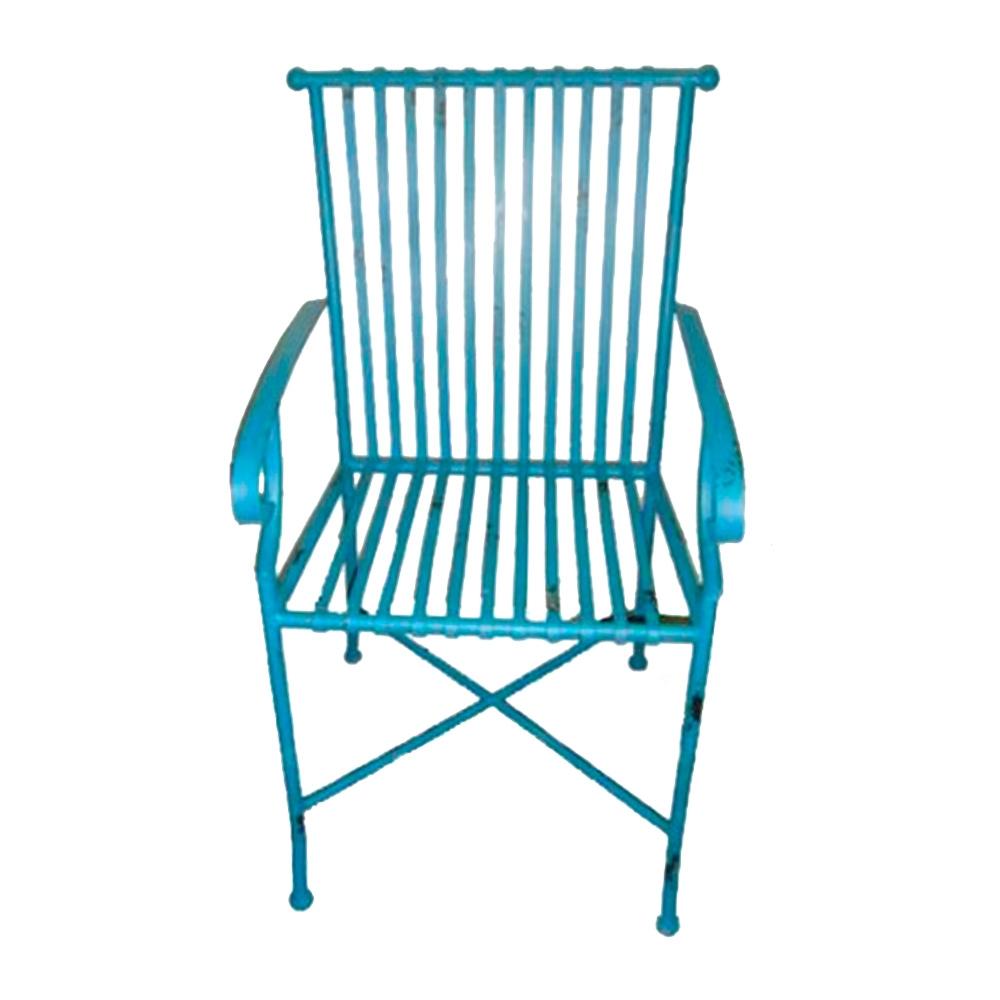 Cadeira Filetes Azul c/ Efeito Desgastado Chic e Apoio para Braço Estrutura Vazada em Ferro - 66x50 cm