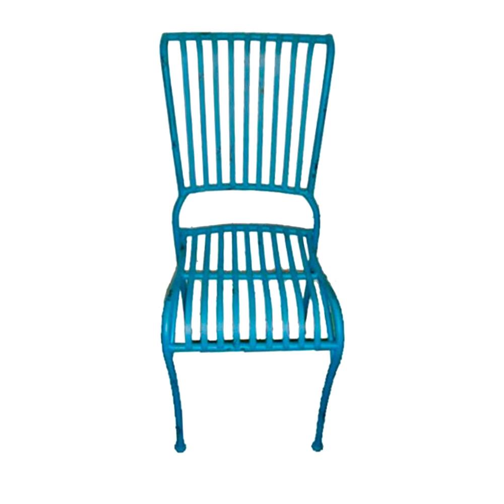Cadeira Filetes Azul c/ Estrutura Vazada em Ferro - 90x40 cm