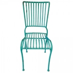 Cadeira Filetes Azul Turquesa c/ Estrutura Vazada em Ferro
