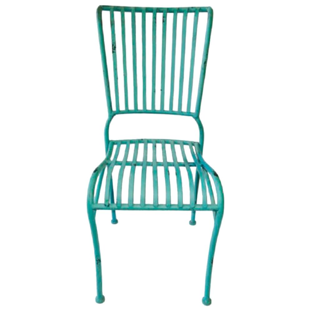 Cadeira Filetes Azul Turquesa c/ Estrutura Vazada em Ferro - 90x40 cm