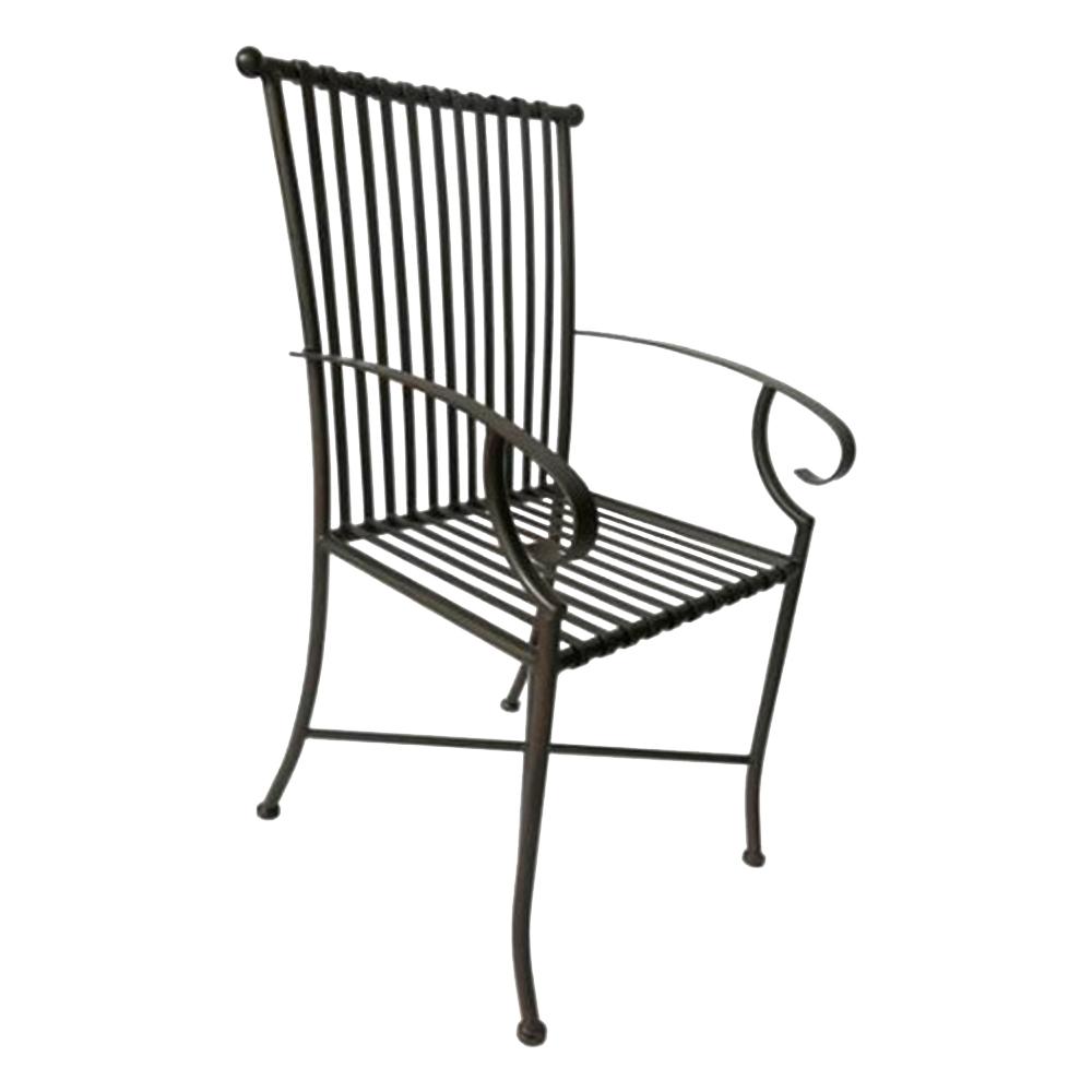 Cadeira Filetes Preta com Apoio para Braço Estrutura Vazada em Ferro - 66x50 cm