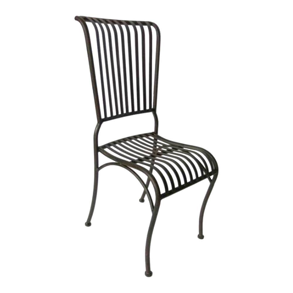 Cadeira Filetes Preta com Estrutura Vazada em Ferro - 90x40 cm