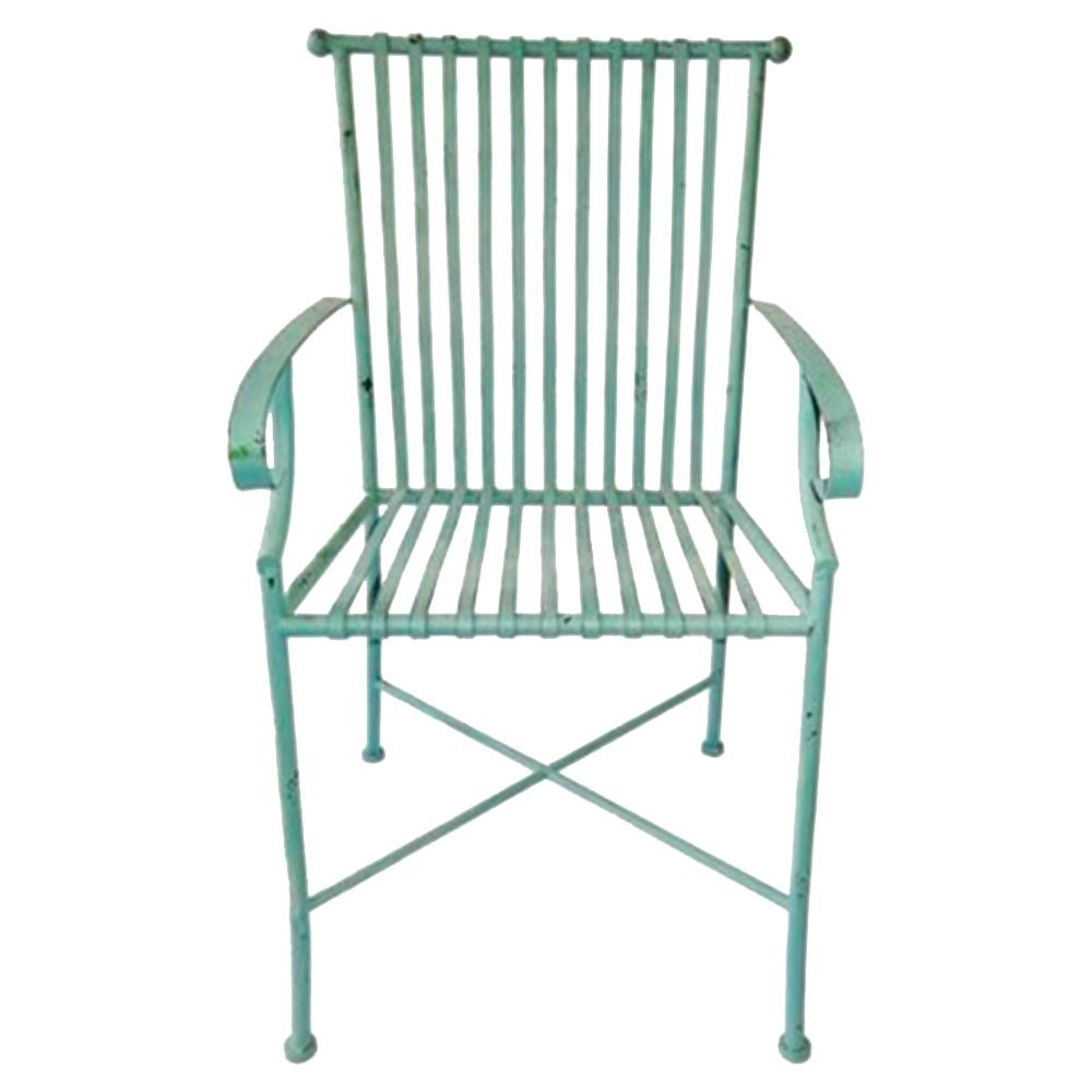 Cadeira Filetes Turquesa c/ Efeito Desgastado Chic e Apoio para Braço Estrutura Vazada em Ferro - 66x50 cm